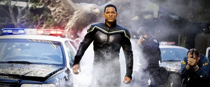Will Smith (pictured) stars as Hancock, a disgruntled, conflicted, sarcastic, and misunderstood superhero whose well-intentioned heroics might get the job done and save countless lives, but always seem to leave jaw-dropping damage in their wake, in Columbia Pictures' Hancock.  The film is directed by Peter Berg.  The screenplay is by Vy Vincent Ngo and Vince Gilligan.  The film is produced by Akiva Goldsman, Michael Mann, Will Smith, and James Lassiter.  Hancock is set for release July 2, 2008.